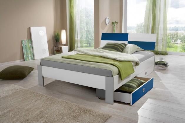 Klasická postel Sunny - Postel s úložným priestorom, 140x200cm (bílá s modrou)