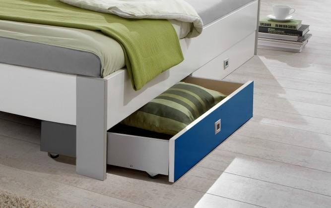 Klasická postel Sunny - Úložný prostor (alpská bílá s modrou)