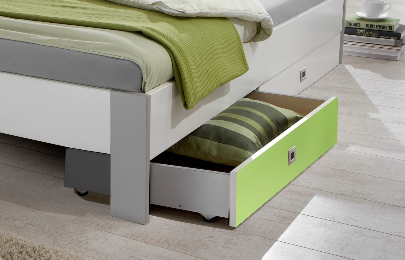 Klasická postel Sunny - Úložný prostor (alpská bílá se zeleným jablkem)