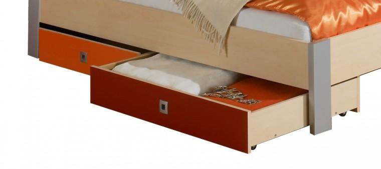 Klasická postel Sunny - Úložný prostor (červenooranžová)