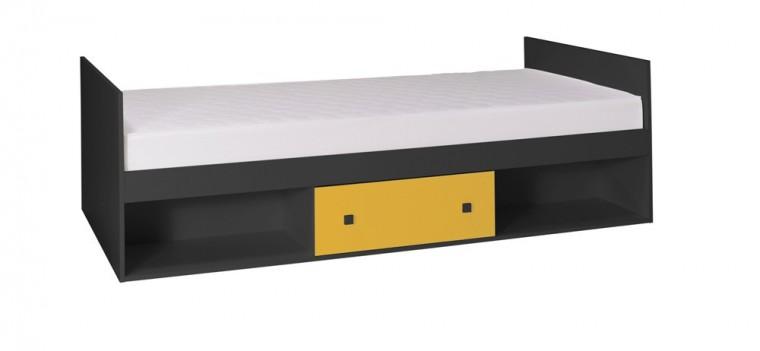 Klasická postel Tommy 20 - Postel, s matrací (šedá/žlutá)
