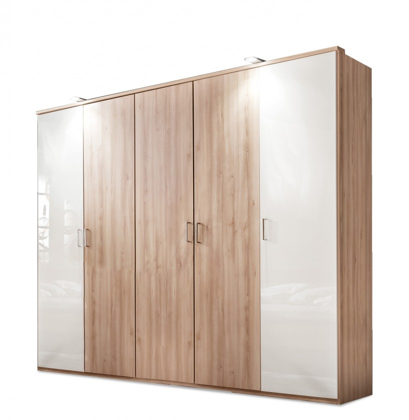 Klasická Rio - Šatní skříň, 4x dveře (buk/bílý lesk)