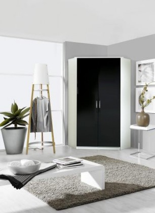 Klasická Rohová skříň Clack - 2x dveře (černá/bílá)