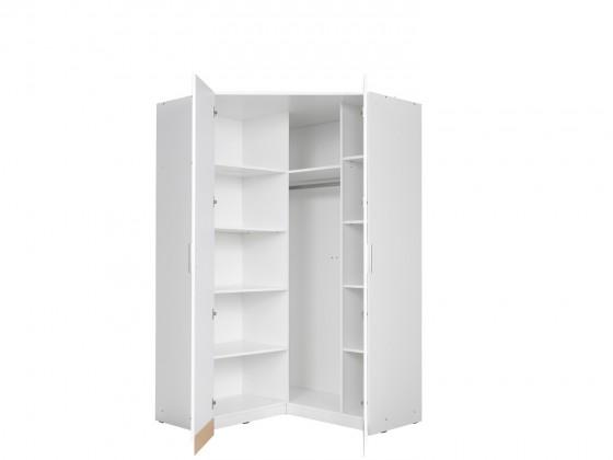 Klasická Rohová skříň Snow (bílá/bílá vysoký lesk)