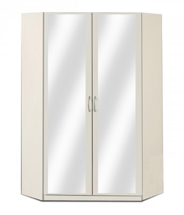 Klasická Rohová skříň Sprint - 175 cm,2x zrcadlo (alpská bílá)