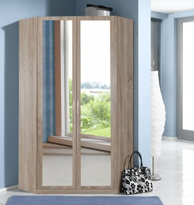 Klasická Rohová skříň Sprint - 175 cm,2x zrcadlo (dub hrubá struktura)