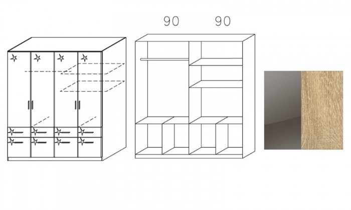 Klasická Šatní skříň Celle, 4x dveře