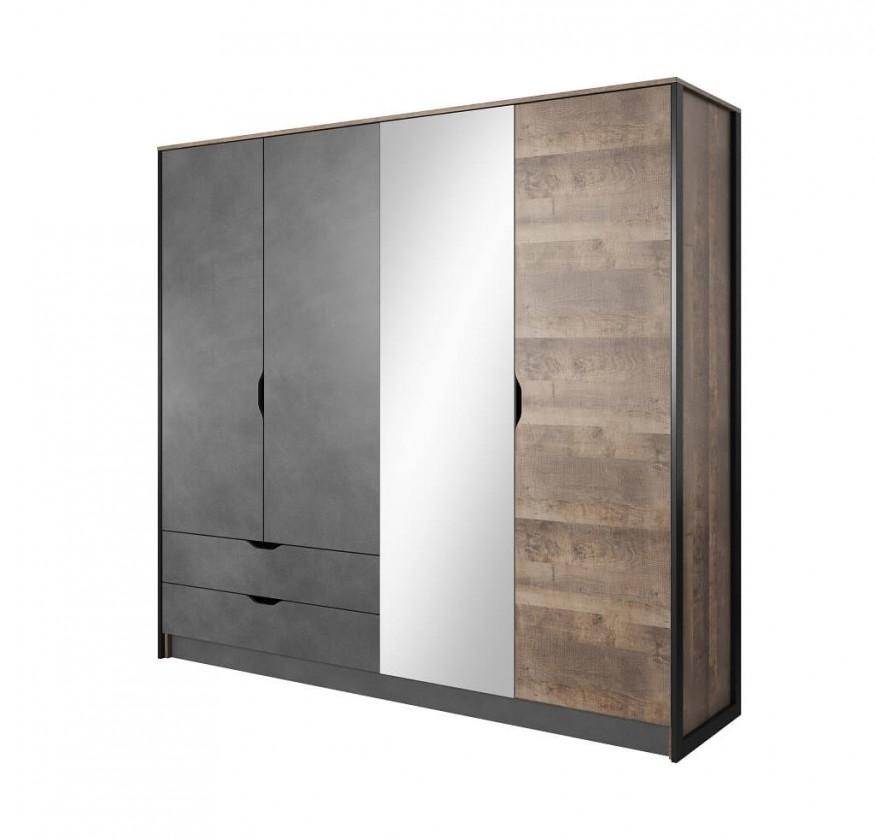 Klasická Šatní skříň Laura - 220x204x56 cm (dub grande pískový/matera)