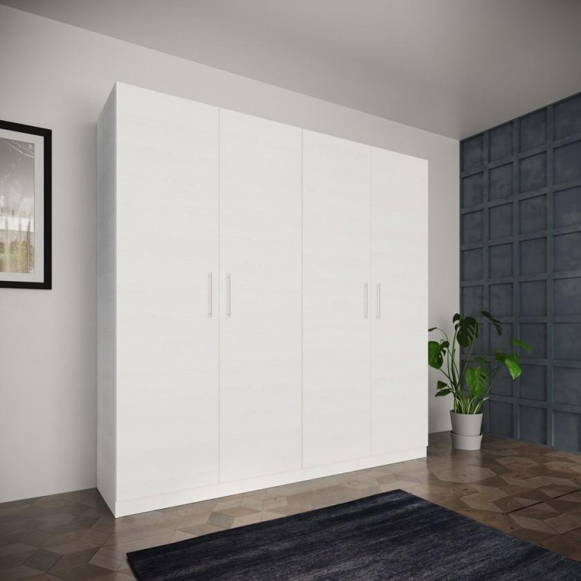 Klasická Šatní skříň Paluda - 205x204x52 cm (bílá)