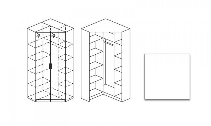 Klasická Šatní skříň rohová Celle, 2x dveře se zrc.