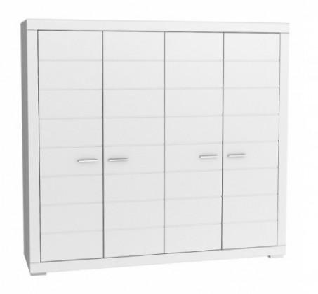 Klasická Šatní skříň Snow, 4x dveře (Bílá)
