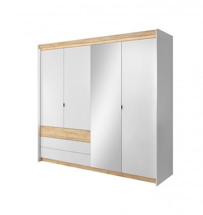 Klasická Šatní skříň Valeria 220x203x57 cm (dub craft/bílá)