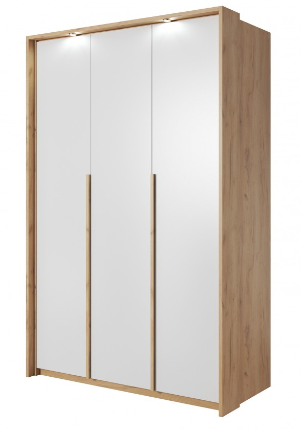 Klasická Šatní skříň Xelo 141 cm (dub zlatý/bílá)