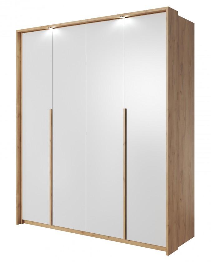 Klasická Šatní skříň Xelo 185 cm (dub zlatý/bílá)