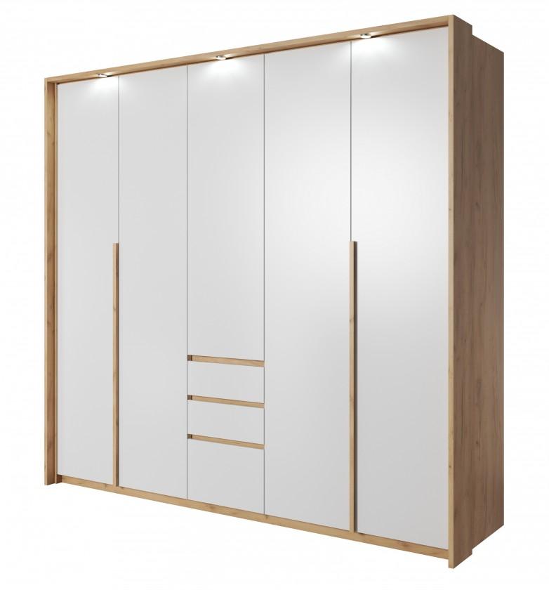 Klasická Šatní skříň Xelo 230 cm (dub zlatý/bílá)