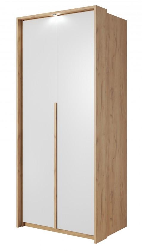 Klasická Šatní skříň Xelo 97 cm (dub zlatý/bílá)