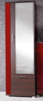 Klasická Skříň Fox, 2x dveře (Ořech miláno/červená vysoký lesk)