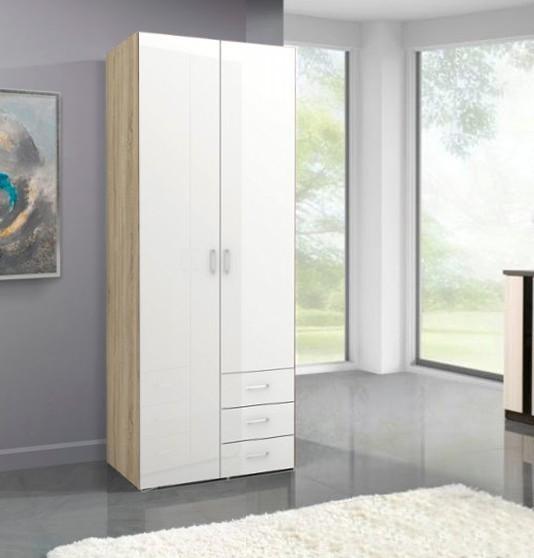 Klasická Space - 2 dveře (dub, bílá, vysoký lesk)