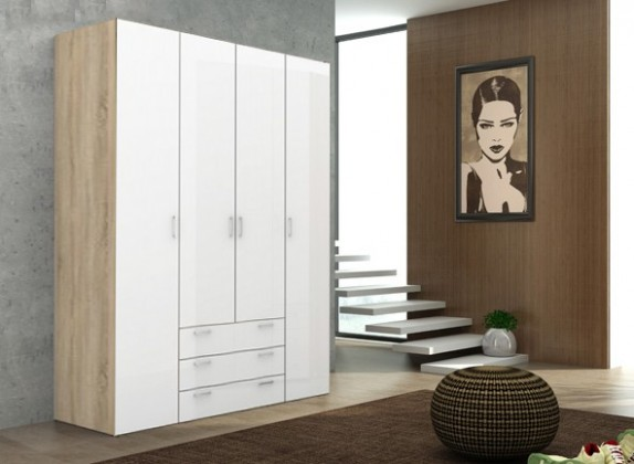 Klasická Space - 4 dveře (dub, bílá, vysoký lesk)