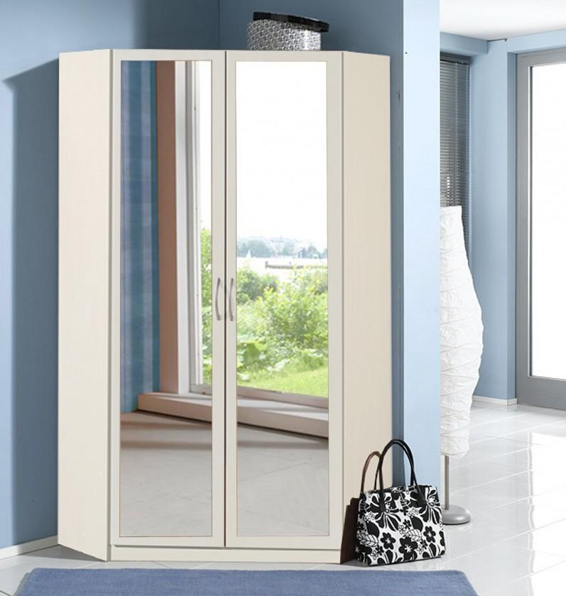 Klasická Sprint - rohová skříň,198 cm,2x zrcadlo (alpská bílá)