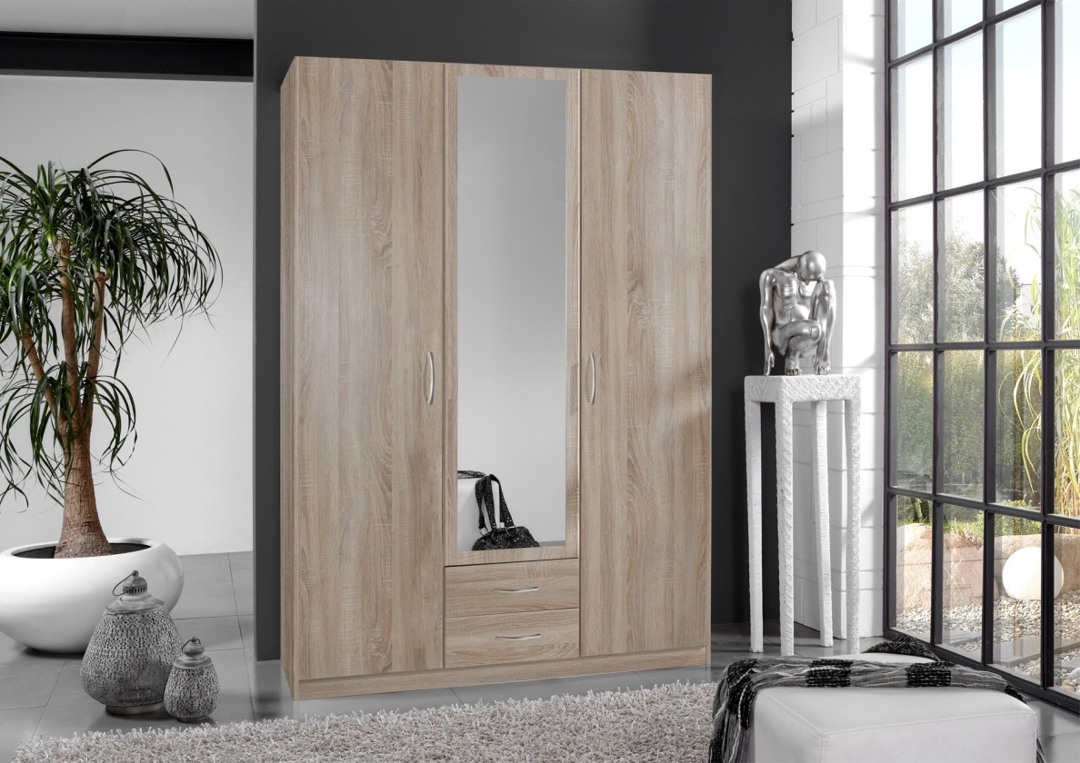 Klasická Sprint - skříň 135 cm,3x dveře,1x zrcadlo (dub hrubá struktura)