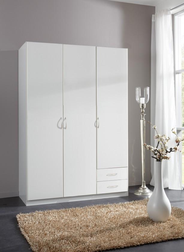 Klasická Sprint - skříň 135 cm,3x dveře,2x zásuvka (alpská bílá)