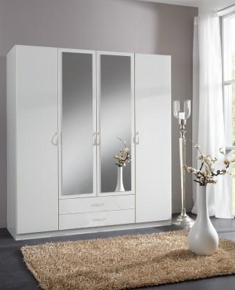 Klasická Sprint - skříň 180 cm,4x dveře,2x zrcadlo (alpská bílá)