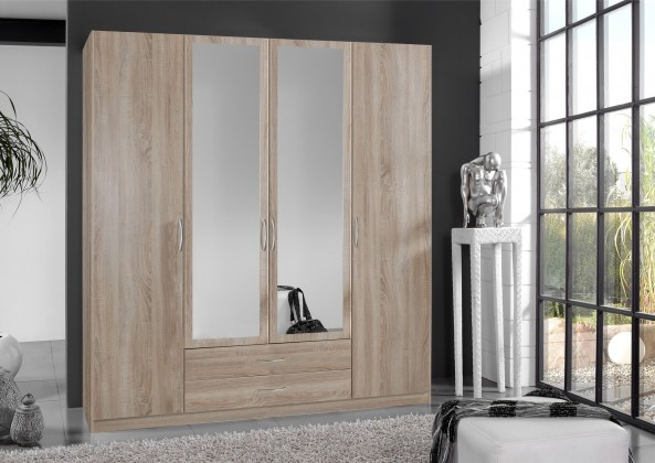 Klasická Sprint - skříň 180 cm,4x dveře,2x zrcadlo (dub hrubá struktura)