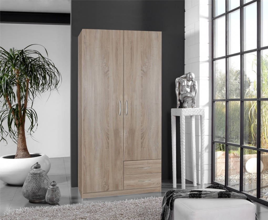 Klasická Sprint - skříň 90 cm,2x dveře,3x police (dub hrubá struktura)