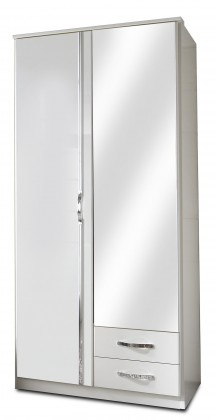 Klasická Trio - Skříň, 2x dveře, 1x tyč (perleťová bílá/alpská bílá)