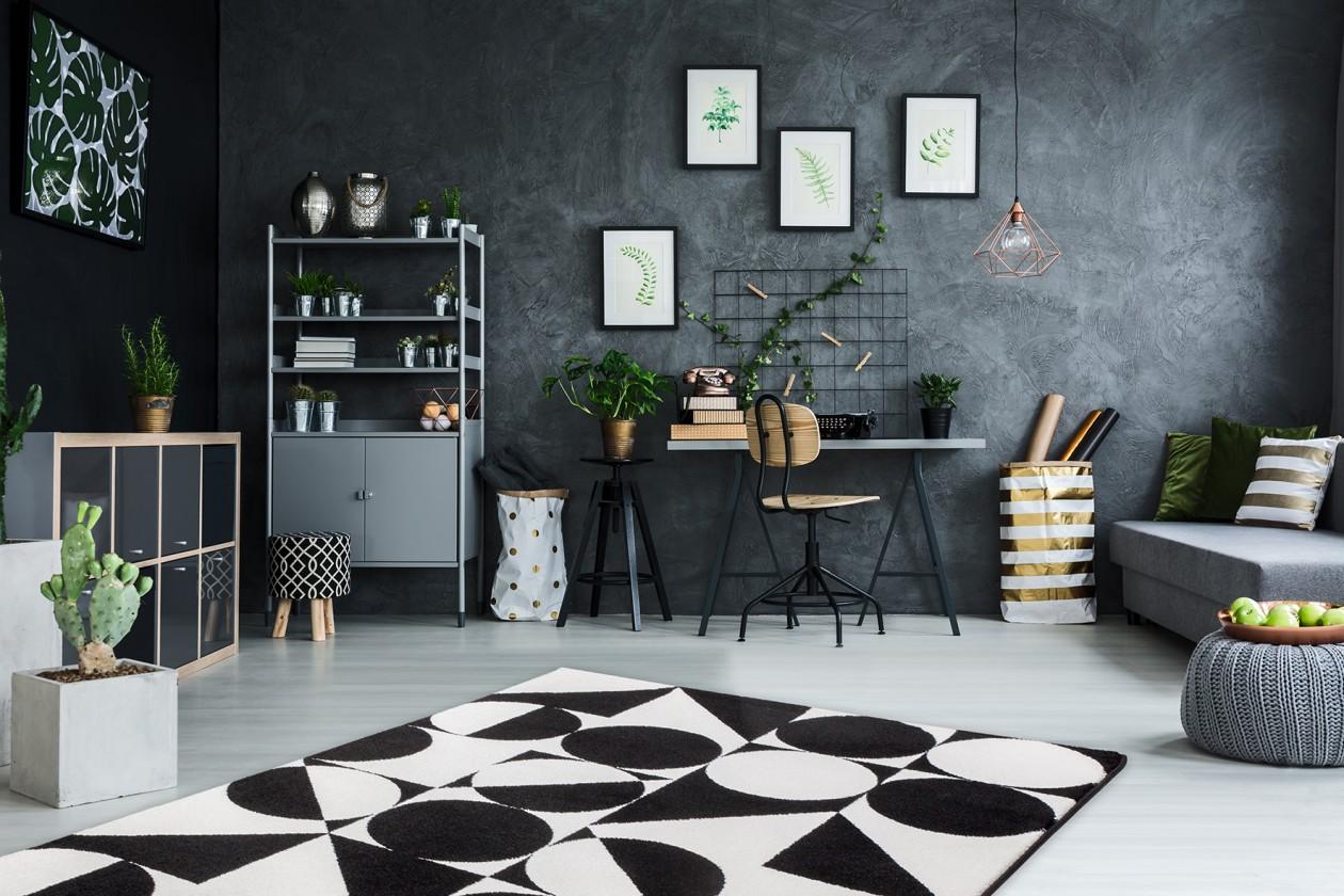 Koberec Black & white (120x170 cm, černá)