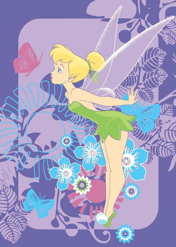Koberec - Disney Fairies - 02 Tink Tropical, 95x133 cm (fialová)