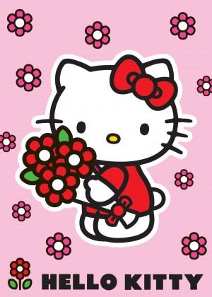 Koberec - Disney Hello Kitty - 18 Red Flower, 95x133 cm (růžová)