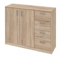 Kobo - komoda, 2 dveře, 4 zásuvky, 2 police (dub bardolino)