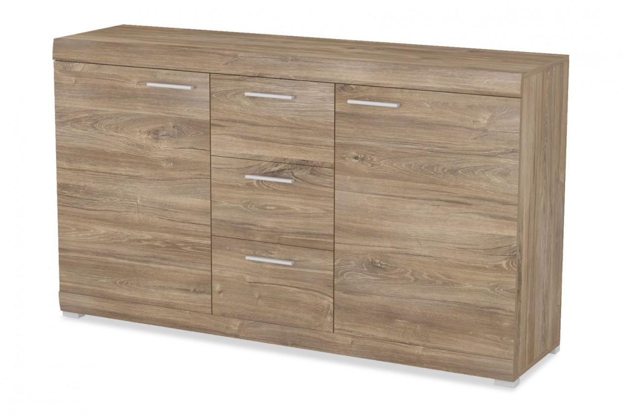 Komoda Alvaro - Komoda, 2x dveře, 3x zásuvka (stirling)