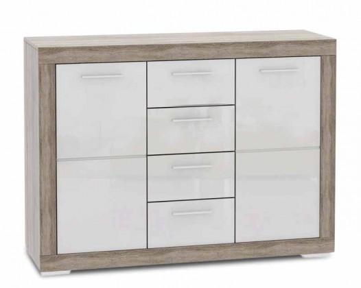 Komoda Atrium - Komoda, 4x zásuvka (dub šedý sonoma/bílá lesk)