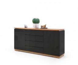 Komoda Chalco (2x dveře, 4 zásuvka, černá, dub)