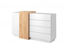 Komoda Duras (2x dveře, 4x zásuvka, lamino, bílá/hnědá)