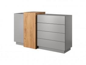 Komoda Duras (2x dveře, 4x zásuvka, lamino, šedá/hnědá)