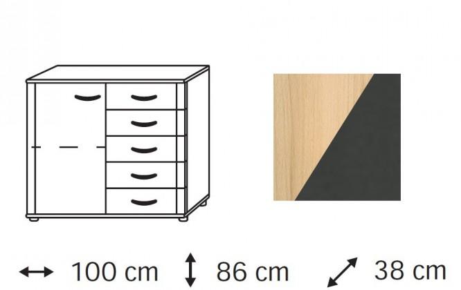 Komoda Elementa - komoda, 1x dvířka, 5x zásuvka