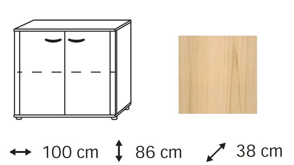 Komoda Elementa - komoda, 2x dvířka