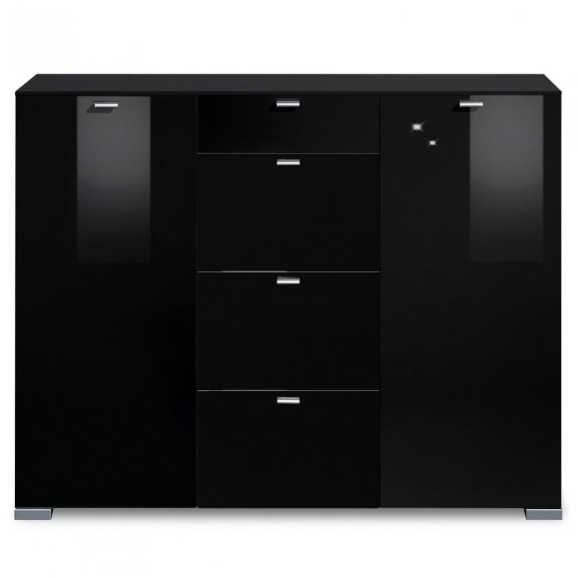 Komoda Gallery HG15 (černá/černý lak HG)