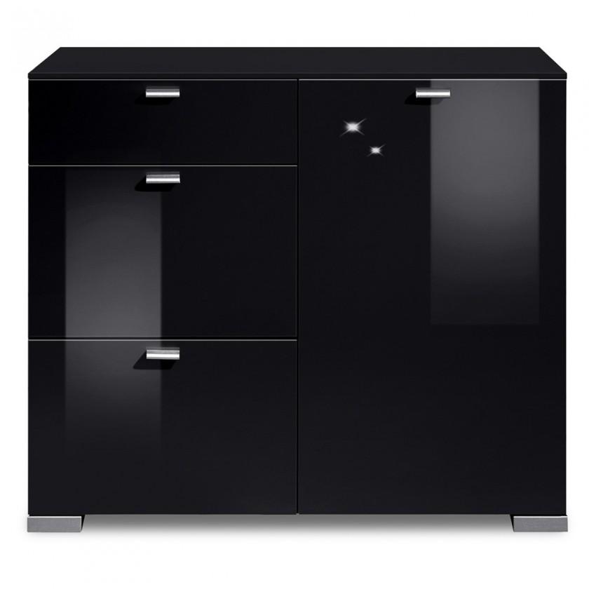 Komoda Gallery HG3 (černá/černý lak HG)