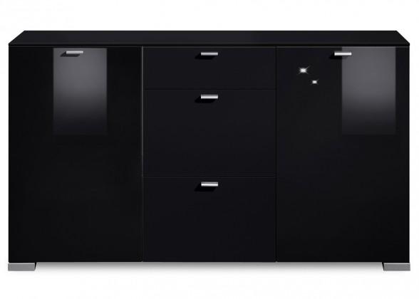 Komoda Gallery HG7 (černá/černý lak HG)