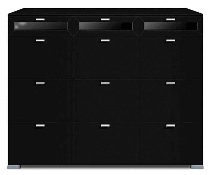 Komoda Gallery Plus 10 (černá/sklo černé)