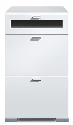 Komoda Gallery Plus 12 (bílá/sklo černé)