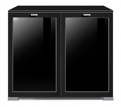 Komoda Gallery Plus 13 (černá/sklo černé)