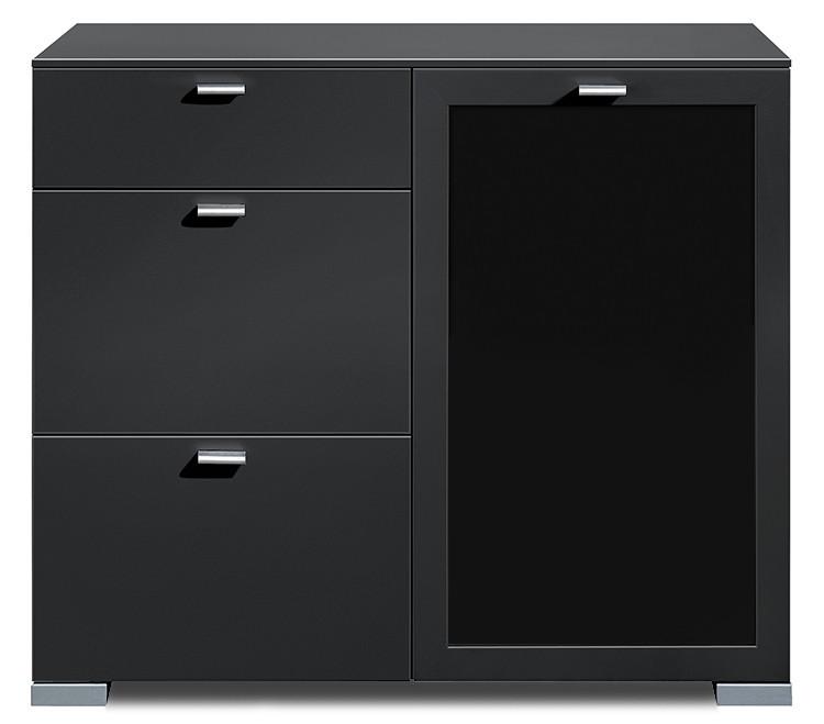 Komoda Gallery Plus 14 (černá/sklo černé)