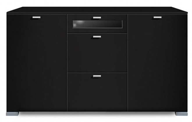 Komoda Gallery Plus 16 (černá/sklo černé)