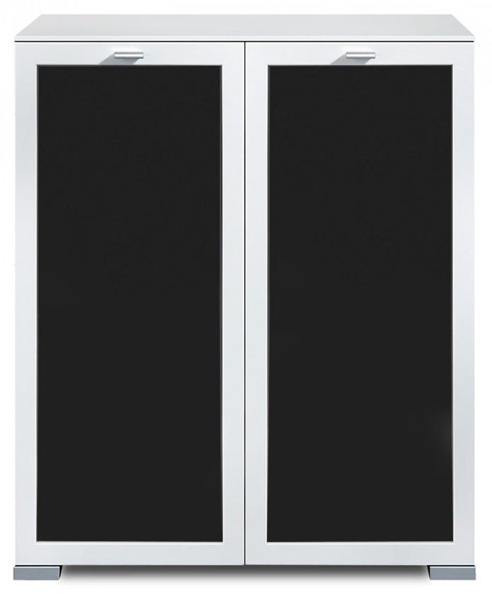 Komoda Gallery Plus 3 (bílá/sklo černé)